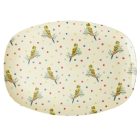 Budgie Print Rectangular Melamine Plate By Rice DK