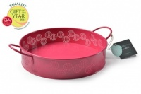 Sophie Conran Round Enamel Tray in Raspberry