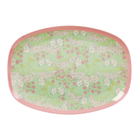Butterfly & Flower Print Rectangular Melamine Plate Rice DK