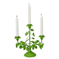 Green metal birds & flowers 3 arm candle holder Rice DK