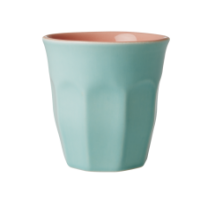 Aqua & Coral Two Tone Ceramic Cup by Rice DK
