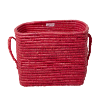 Candy Red Square Raffia Basket Raffia Handles Rice DK