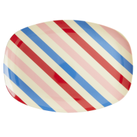 Candy Stripe Print Rectangular Melamine Plate By Rice DK