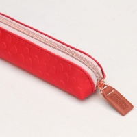 Caroline Gardner Red Dotty Embossed Slim Pencil Case