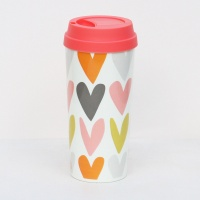 Caroline Gardner Heart Print Thermal Travel Mug