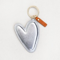 Large Silver Metallic Heart Shaped Keyring By Caroline Gardner