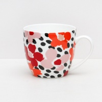 Caroline Gardner Red Jumble Print Everyday China Mug