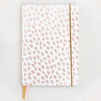 Caroline Gardner Dotty Metallic A5 Notebook In Rose Gold