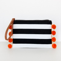 Pom Pom Striped Clutch Bag with Wrist Strap By Caroline Gardner