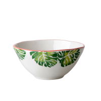 Ceramic Bowl Tropical Leaf Print Rice DK