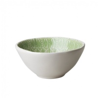 Ceramic Bowl Pastel Green Embossed Lace Print Rice DK