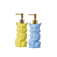 Ceramic Cat Soap Dispenser in Yellow or Blue By Rice DK