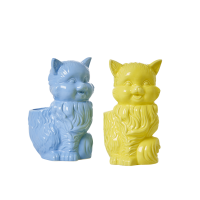 Ceramic Cat Toothbrush Holder in Yellow or Blue By Rice DK
