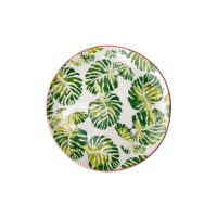 Ceramic Dessert Plate Tropical Leaf Print By Rice DK