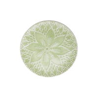 Ceramic Dessert Plate Pastel Green Lace Embossing Print By Rice DK