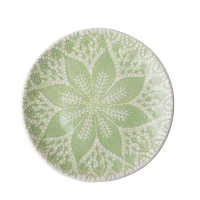 Ceramic Lunch Plate Pastel Green Lace Embossing Print By Rice DK