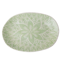 Ceramic Oval Serving Dish Pastel Green Lace Embossing By Rice DK