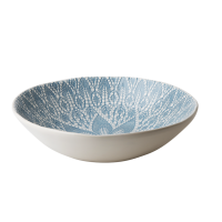 Ceramic Salad Bowl with Blue Grey Lace Embossing By Rice DK