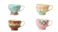 Ceramic Mug Set of 4 with Embossed Flower Design Rice DK