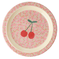 Small Flower & Cherry Print Kids Melamine Plate By Rice DK