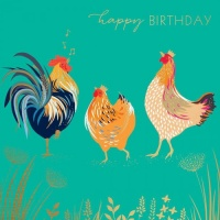 Cockerel and Hens Birthday Card By Sara Miller London