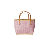 Childs Pink Fabric Covered Raffia Shopping Basket By Rice
