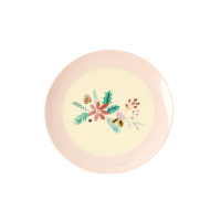 Christmas Flowers Print Small Round Melamine Plate Rice DK