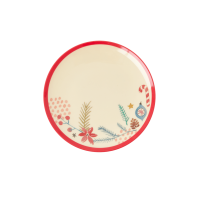 Christmas Ornament Print Small Round Melamine Plate Rice DK