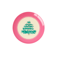 Christmas Tree Print Small Round Melamine Plate Rice DK