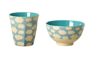 Blue Cloud Print Melamine Cup & Bowl Set Rice DK
