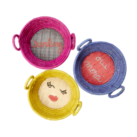 Mini Round Raffia Basket Embroidered Words  Rice DK