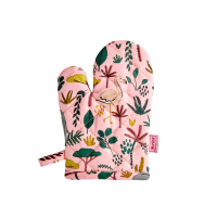 Childs Coral Pink Jungle Print Oven Glove By Rice DK