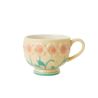 Ceramic Mug with Embossed Creme Flower Design Rice DK