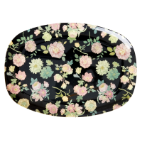 Dark Rose Print Rectangular Melamine Plate By Rice DK