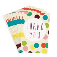 Colourful Dot Pack of 10 Thank You Cards By Caroline Gardner
