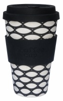 Ecoffee Cup Reusable Bamboo Cup Black & White Basketcase Print