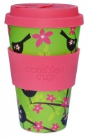 Ecoffee Cup Reusable Bamboo Cup Green & Pink Widdlebirdy Print