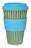 Ecoffee Cup Reusable Bamboo Cup Blue & Yellow Norweaven Print