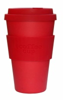 Ecoffee Cup Reusable Bamboo Cup in Plain Red
