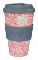 Ecoffee Cup Reusable Bamboo Cup Red & Grey Swirl Print