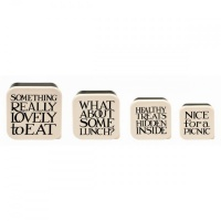 Set of 4 Black Toast Print Snack Boxes By Emma Bridgewater