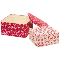 Set of 2 Red Reindeer Square Cake Tins By Emma Bridgewater