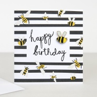 Bee Birthday Card with Enamel Bumble Bee Pin By Caroline Gardner