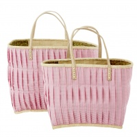 Pink Check Fabric Covered Raffia Shopping Basket Rice DK