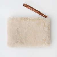 Faux Fur Clutch Bag in Natural By Caroline Gardner