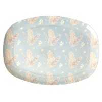 Feather Print Rectangular Melamine Plate Rice DK