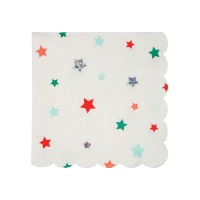 Colourful Star Print Small Cocktail Paper Napkins By Meri Meri