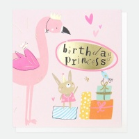 Flamingo Birthday Princess Card By Caroline Gardner