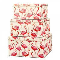 Sara Miller Set of 3 Pink Flamingo Print Square Cake Tins
