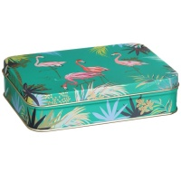 Flamingo Print Small Rectangular Tin Sara Miller